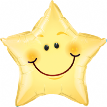 Smiley Face Star Large Foil Balloon 1pc
